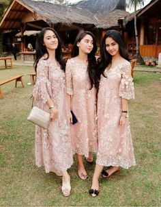 We love this baby pink lace dress for bridesmaid attire! Inspired from Dress Brokat Modern, Kebaya Modern Dress, Kebaya Dress, Dress Pesta, Kebaya Lace, Kebaya Pink, Kebaya Hijab, Kebaya Brokat, Dress Muslim Modern