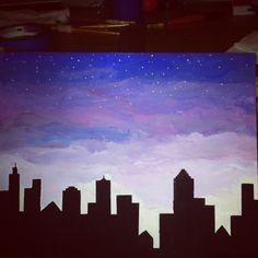 Nighttime city skyline. Easy canvas painting. Easy Canvas Art, Easy Canvas Painting, Mini Canvas Art, Simple Acrylic Paintings, Easy Paintings, Building Painting, City Painting, Unique Drawings, Easy Drawings