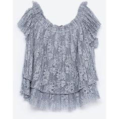 Zara Lace Top (€12) ❤ liked on Polyvore featuring tops, blue grey, gray top, grey lace top, blue lace top, lace top and zara tops