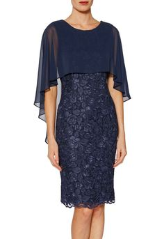 Buy Gina Bacconi Michelle Embroidered Mesh Dress And Cape, Navy from our Women's Dresses range at John Lewis & Partners. Formal Dress Patterns, Formal Dresses, Mother Of Groom Dresses, Batik Dress, Mesh Dress, Cape Dress, Indian Dresses, Dream Dress, Pretty Dresses