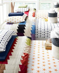 Update your beach house with Mini Prints Percale Bedding in nautical prints, and our colorful Spectrum Quilt.