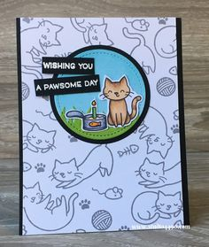 "Four cute ""pawsome"" birthday cards using the Lawn Fawn stamp set, ""Meow You Doin'?""."