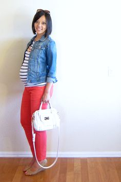 Stripes and coral jeans with denim jacket