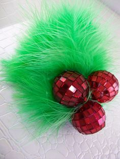 Crazy Gaudy Holly Christmas Feather Fascinator by SGalindoDesign, $30.00