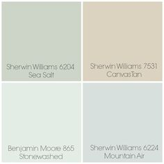"Finalized the paint colors for our home: Sea Salt - Entry / Dining Room. Canvas Tan - Living Room. Stonewashed - Playroom & Kitchen (possibly). Mountain Air - Master Bedroom. All rooms with white trim. One other possibility in place of Stonewashed is Sherwin Williams 6203 ""Spare White"" (not pictured)."