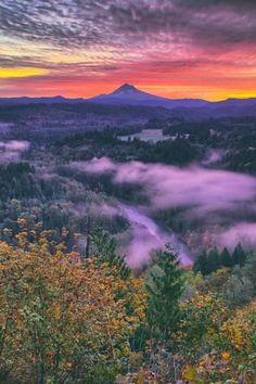 size: Photographic Print: Sunrise World at Mount Hood, Fog at Sandy River Oregon by Vincent James : Religion Sunrise Images, Sunrise Pictures, Beautiful Sky, Beautiful Images, Beautiful Things, Fantasy Landscape, Beach Landscape, Landscape Art Quilts, Landscapes
