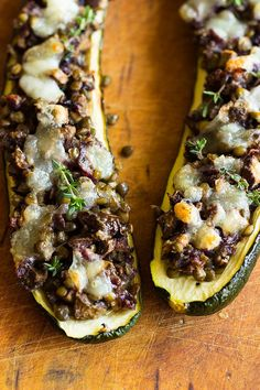 Stuffed courgette with puy lentils and caramelised red onion