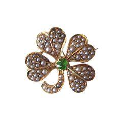Demantoid Garnet Four Leaf Clover Brooch by gandsco on Etsy