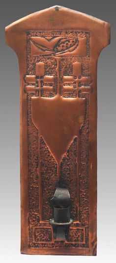 """Arts & Crafts wall sconce, copper with a repousse design, Glasgow School, Scottish, c. 1900, unmarked, 5""""w x 16.25""""l"""