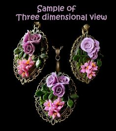 3 D view of Cold Porcelain flower necklace.