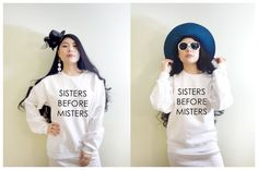 Sisters before Misters Funny Saying Matching Twins by MydaGreat #twins #sister #matching #bff #bestfriends #sistersbeforemisters #funnyhoodie #funnyshirts #top #cute #twinsshirts #typography #fashion #matchingtwins #matchingsisters #matchingbff #buddy #friends #love #iloveyou #birthdaygifts #soulmate #betterhalf #inspiration #awesome #cutetops #trend #beautiful #pretty #friendsforever #slay #quote #word #women'sfashion