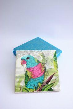 Ceramic coasters | Tile coaster | Decoupage | Set of 4 | Birds | Flowers