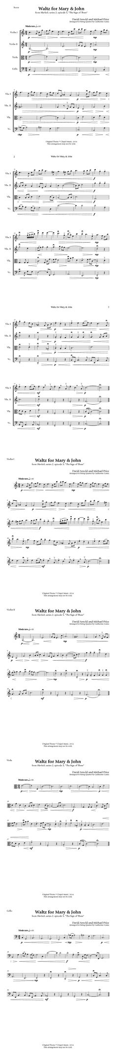 """""""Waltz for Mary John"""" from """"The Sign of Three"""" episode - for 2 violins, a viola, and a cello."""
