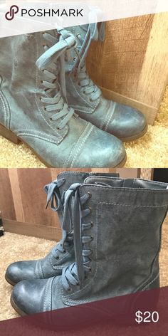 Light blue/gray combat boots Light blue and gray tinted combat boots. Light brown sole and heel. Blue laces and white threading Shoes Combat & Moto Boots