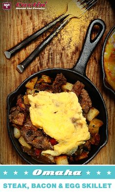 Leftover Omaha steak? Mix it into a delicious breakfast skillet with Bar-S bacon, potatoes and eggs. Be sure to repin for your chance to WIN free Bar-S product!
