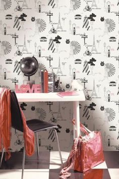 Designer Wallpaper City - Black/White/Silver - 96783 Fascinating fashion-led surface print wallpaper design featuring graphic scenes from London, Paris and New York. The black and metallic silver print on a charcoal background makes this wallpaper a stunning addition to any room. £17.99 per roll