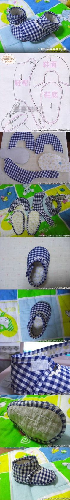 diy, slipper, baby, tutorial, handmade