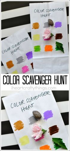 This simple color scavenger hunt for kids is unbelievably easy to throw together and works as a great outdoor activity for kids, summer activity for kids, kids camping activity, color learning activity, and preschool color activity! Preschool Color Activities, Babysitting Activities, Camping Activities For Kids, Camping With Kids, Camping Ideas, Outdoor Camping, Children Activities, Summer School Activities, Nanny Activities
