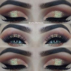 Gold Glitter Eye Makeup Idea for Green Eyes