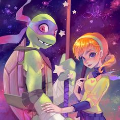"""1,673 mentions J'aime, 13 commentaires - Lüleiya (@luleiyadaily) sur Instagram: """"Swipe for full version! ✨ #Donatello and #April - a little tribute to #Nickelodeon's #TMNT show.…"""""""