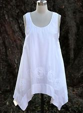 TULIP CV310 2-Layer LW Cotton Lagenlook OLIVIA  Tunic Dress WHITE/WHITE