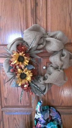Large burlap wreath made special for someone special...Robin Evans
