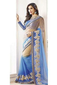 Beige , blue embroidered georgette saree with blouse