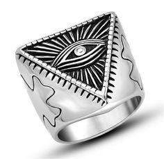 4.74$  Buy here - Resident Evil Eye Ring 316L Stainless Steel Party Fashion Jewelry 2016 New Item Trendy  Egyptian Pyramid Triangle Punk Men Ring   #buychinaproducts