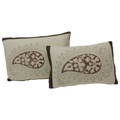 Set of Two Brown and Cream Indian Printed Cotton Paisley Decorative Pillows   From a unique collection of antique and modern textiles at https://www.1stdibs.com/furniture/more-furniture-collectibles/textiles/