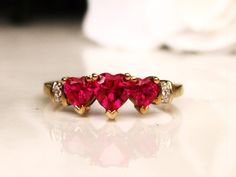 Three Stone Ruby Heart Ring Valentine Day by LadyRoseVintageJewel