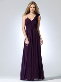 Plum Sheer matte jersey floor length dress with cross over bust and rosette covered shoulder strap [#O8015B22010419] - $188.00 : Crazeparty.com, Dare to be Different!