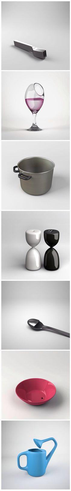 Deliberately Inconvenient Everyday Objects. Katerina Kamprani. twistedsifter.com
