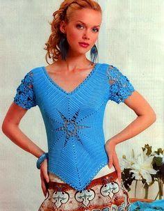CARAMELO ARDIENTE es... LA PRINCESA DEL CROCHET: blusa azul