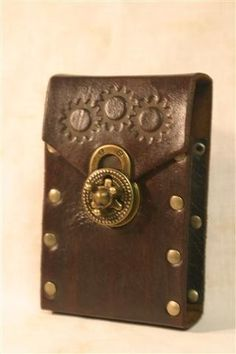 Leather Steampunk Cellphone Smartphone Case / Holster by FiendishWear | Smoked Glass Goggles
