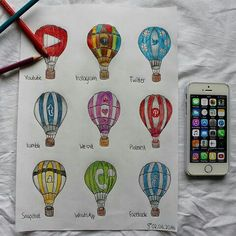 YouTube, Instagram, Twitter, Tumblr, We Heart It, Pinterest, Snapchat, WhatsApp & Facebook [as hot air balloons] (Drawing by Unknown) #SocialMedia
