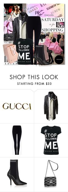 """Saturday is for Shopping"" by lavendergal ❤ liked on Polyvore featuring WALL, Gucci, Agent Provocateur, Anthony Vaccarello, Phase Eight, Philipp Plein, Fendi and Forever 21"