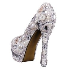 VELCANS Luxurious Crystal Pearl Rhinestone and Bridal,Bridesmaid,Proms Dress Shoes for Women Pumps (6 B(M) US, Crystal of High Heel 5.5″) by VELCANS