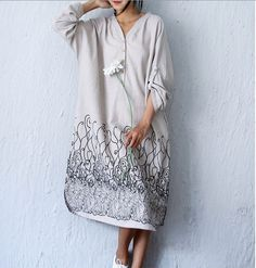 2 Colors Causal Loose Fitting Long Dress/V Neck Long Sleeve Linen And Cotton Caftans/Plus Size Linen Clothing by MUDANFLORAL on Etsy