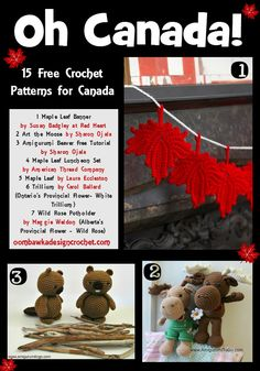 Oh Canada! 15 Free Crochet Patterns for Canada eh? Including Provincial Flowers, Maple Leaves, Moose and Beavers!
