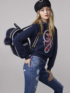 Welcome to the new nautical: the TOMMYXGIGI collection is a playful update of seafaring classics. Back to Nautical School with this sweatshirt designed by Gigi Hadid and Tommy Hilfiger  --with Gigi Hadid --