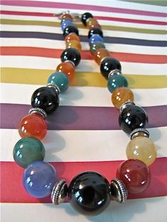 Multicolor Stone Beaded Necklace. $28.00, via Etsy.
