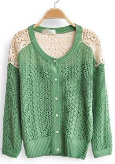 Green Contrast Lace Long Sleeve Hollow Cardigan Sweater