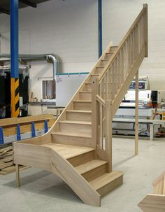 White Oak Staircases with stop chamfered parts