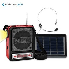 Technical Pro Solar Rechargeable Bluetooth Speaker with Wired Headset Mic & LED Torch Light. Great companion on-the-go or at the beach. Solar powered with rechargeable battery. 100 Watts of peak power. USB port and SD slot. 1/8†AUX socket.