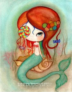 Mermaid Print Candy Gumball Girl Wall Art---Lollipop Mermaid by thepoppytree on Etsy https://www.etsy.com/listing/108039406/mermaid-print-candy-gumball-girl-wall