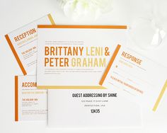 "Modern invites from Shine Wedding Invitations have ""just the right amount of bling"" 