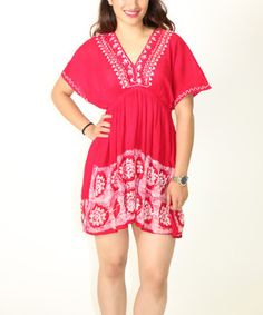 Love this Red & White Embroidered Empire-Waist Dress by Shoreline on #zulily! #zulilyfinds
