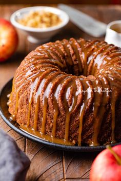 This Apple Bundt Cake is the perfect dessert to make when you don't feel like messing around with anything complicated! It is made up of chunks of tender apples, chopped walnuts, cinnamon, and applesauce. And while it's still warm, drizzle this decadent brown sugar glaze over the top! Find the full recipe on BeyondtheButter.com! Brown Sugar Glaze, Desserts To Make, Fall Baking, Baked Apples, Piece Of Cakes, Let Them Eat Cake, Cupcake Cakes, Bundt Cakes, Cupcakes