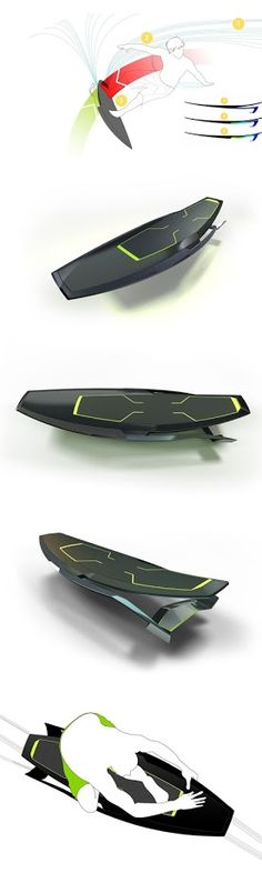 Kofusu surfboard concept, with FlexFoil allowing the surfer to dynamically alter the board's geometry for progressive carving. #design, #sport, #surf