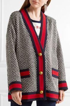 Gucci - Oversized Grosgrain-trimmed Cotton-blend Tweed Jacket - Black - IT46